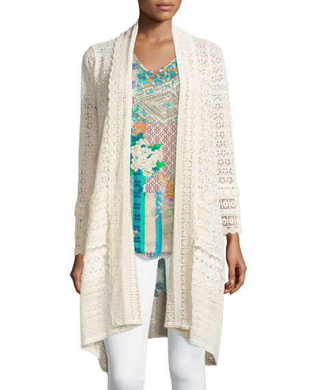 Johnny Was Collection Long Crochet Open Jacket, Natural,