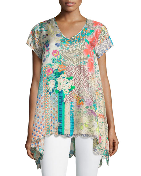 Johnny Was Collection Azzy Printed Trapeze Top, Plus
