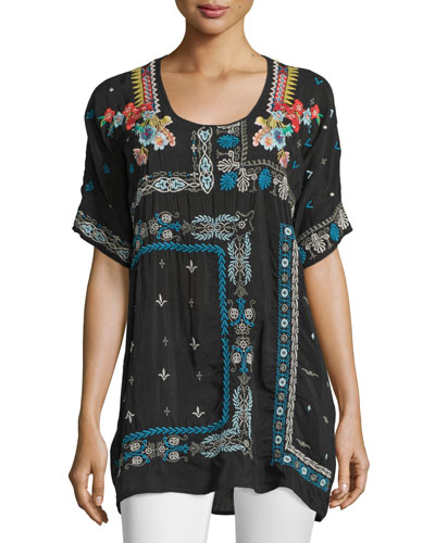 Danny Short-Sleeve Embroidered Blouse, Black, Plus Size