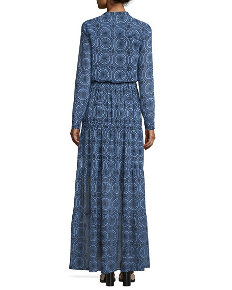 Miura Long-Sleeve Printed Tiered Maxi Dress