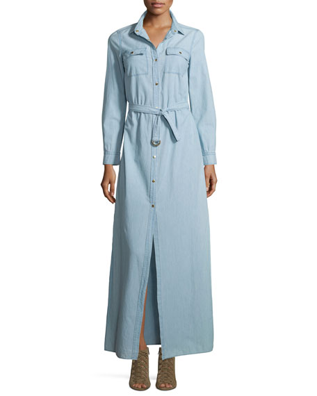 MICHAEL Michael Kors Chambray Maxi Shirtdress W/Belt, Classic Wash