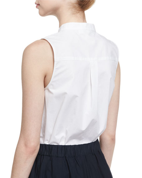 SLEEVELESS COTTON POPLIN BLS