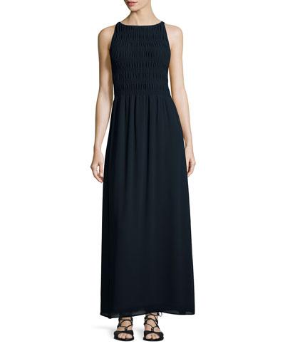 Sleeveless Smocked-Bodice Maxi Dress