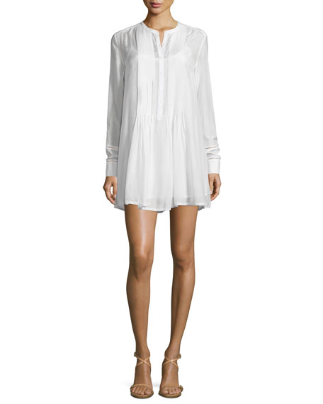 FRAME DENIMVictorian Button-Front Shirtdress, Blanc