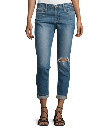FRAME Le Garcon Distressed Cropped Jeans, Cooper