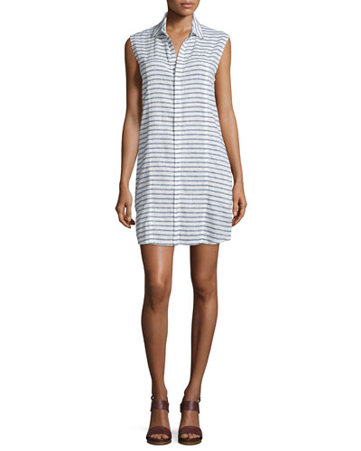 Jules Sleeveless Striped Shirtdress, Shale