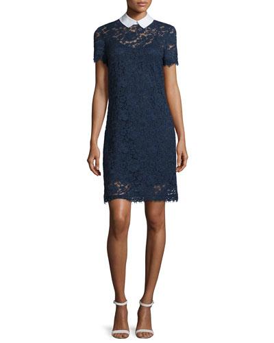 Lace Sheath Dress w/Shirt Collar, New Navy