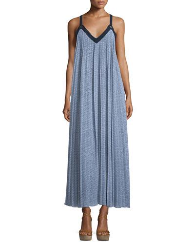 Estrada Pleated Georgette Maxi Dress