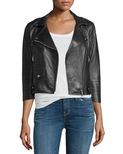 Wes Cropped Leather Moto Jacket, Black