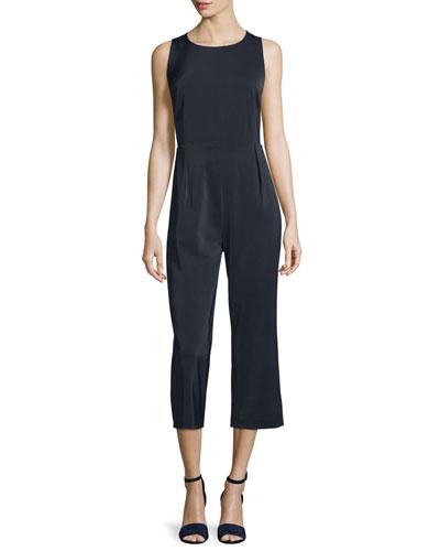 Haddon Sleeveless Cropped Jumpsuit, Black