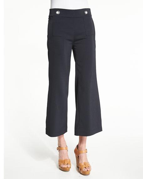 Rebecca Minkoff Edgewater Flare-Leg Cropped Pants, Black