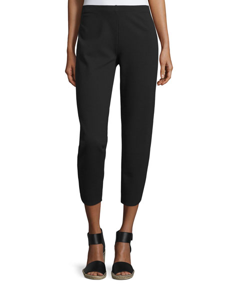 Joan Vass Ponte Ankle Pants, Black