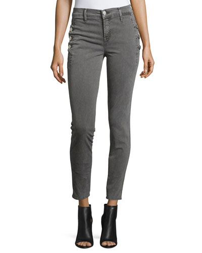 Zion Mid-Rise Skinny Ankle Jeans w/ Button Detail, Distressed Silver