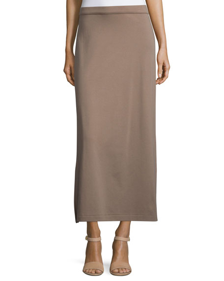 Joan Vass Interlock Maxi Skirt, Pebblestone, Plus Size