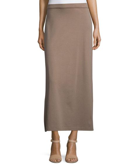 Joan Vass Interlock Maxi Skirt, Pebblestone