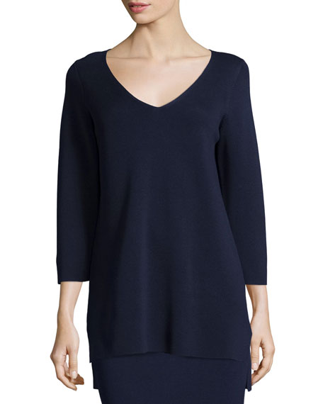 Eileen Fisher 3/4-Sleeve V-Neck Interlock Tunic, Midnight