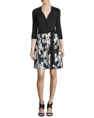 Jewel Floral-Trim Wrap Dress, Black/Ivory