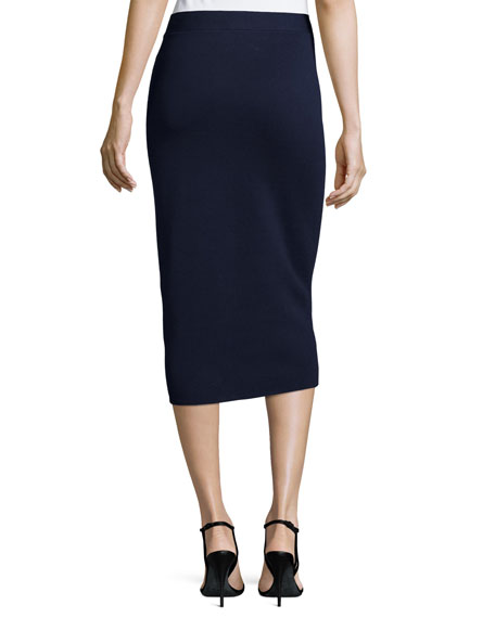 Silk Organic Cotton Interlock Pencil Skirt, Midnight, Petite