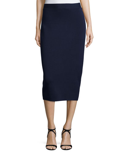 Silk Organic Cotton Interlock Pencil Skirt, Midnight, Petite