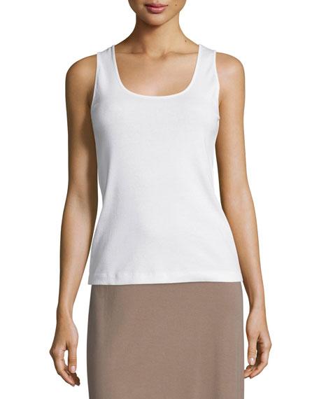 Joan Vass Soft Scoop-Neck Tank, White, Plus Size