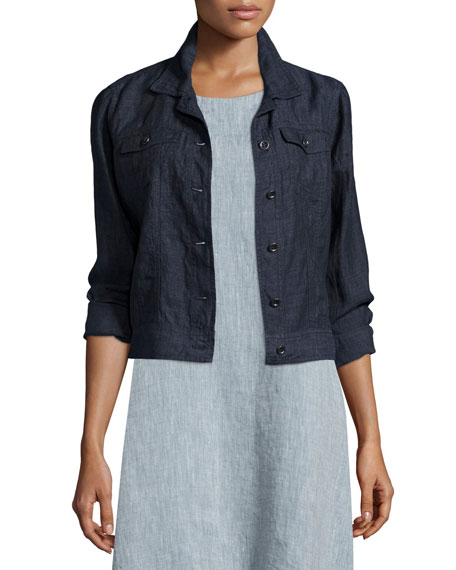 Eileen Fisher Organic Linen Jean Jacket, Denim, Petite