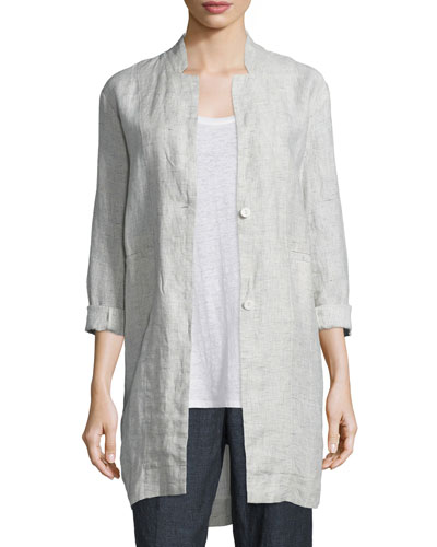 Linen Slub Check Jacket