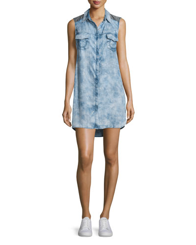 Georgia Sleeveless Chambray Shirtdress, Indigo/Black