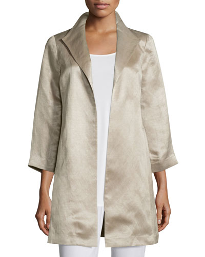 High-Collar Satin Coat, Natural, Petite