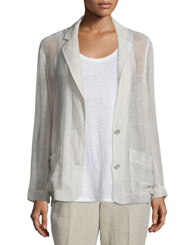 Mesh Two-Button Blazer, Natural, Petite
