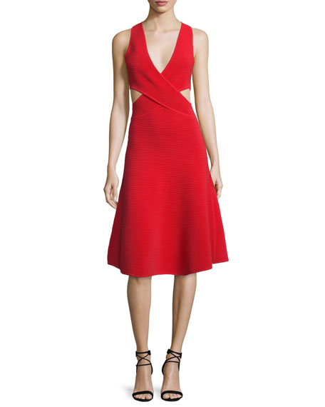 Jonathan Simkhai Cutout Ribbed Cross-Front Dress, Red