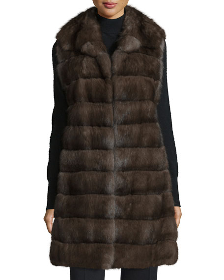 Gorski Horizontal-Fur Long Vest, Natural