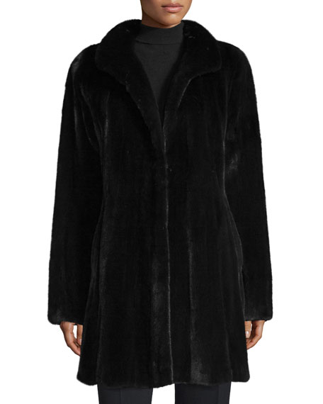Mink Fur Stroller Coat, Ranch Black