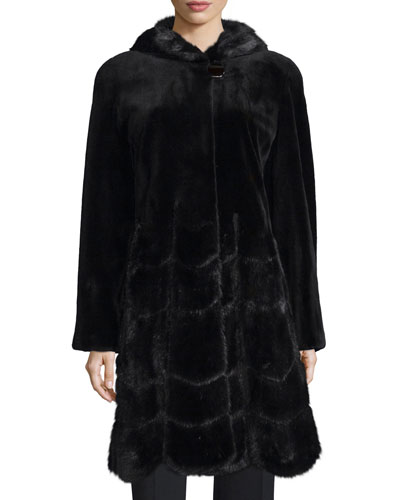 Sheared Mink Fur Coat, Black