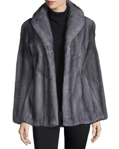 Shawl-Collar Mink Jacket, Light Gray