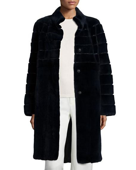 Reversible Horizontal Mink Fur Coat, Navy