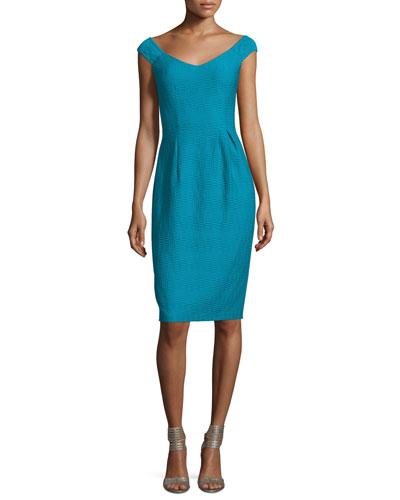 Off-Shoulder V-Neck Textured Sheath Dress