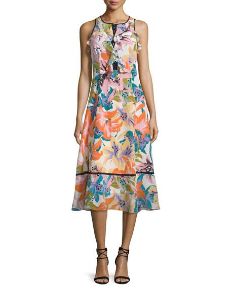 Nanette Lepore Sleeveless Ruffle-Trim Midi Dress, Tangerine/Multi