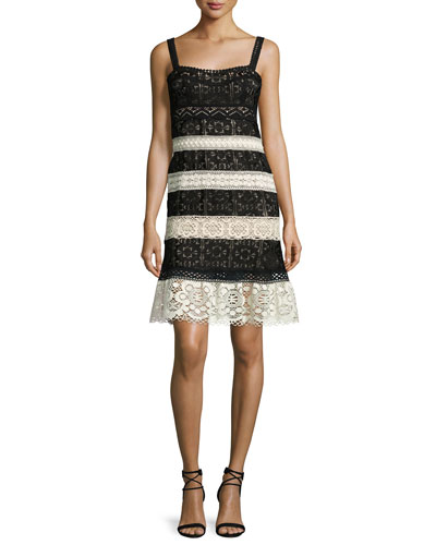 Sleeveless Lace Striped Dress