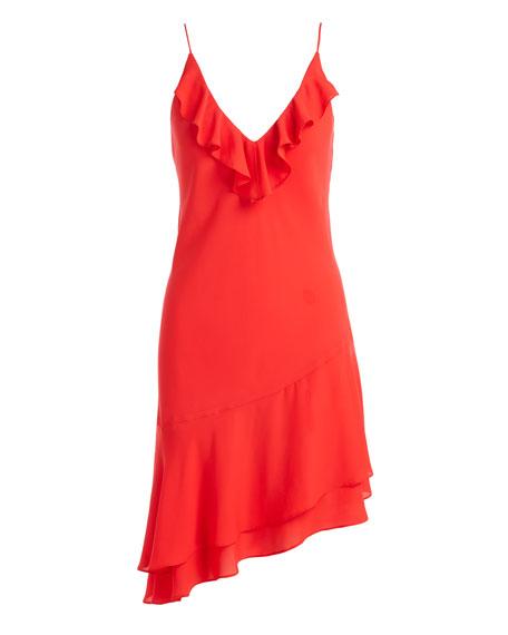 Anastasia Sleeveless Ruffle Dress, Candy Apple