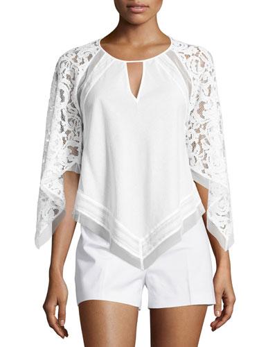 Elyza Lace-Sleeve Round-Neck Top, White