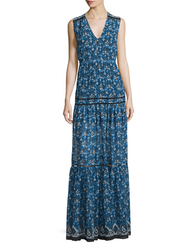 Tecate Tiered Multipattern Maxi Dress, Blue