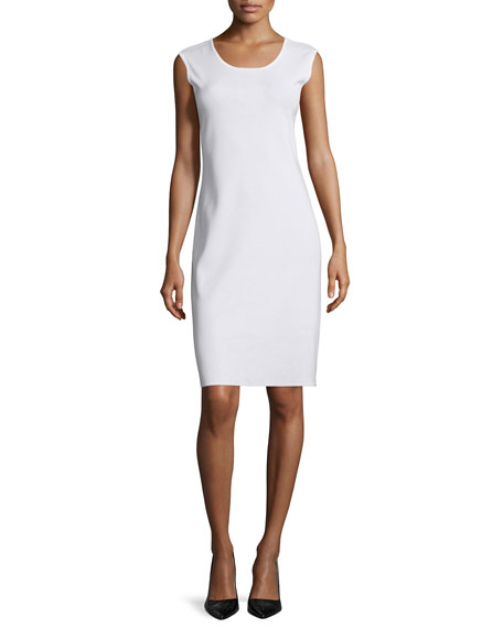 Misook Sleeveless Sheath Tank Dress, White