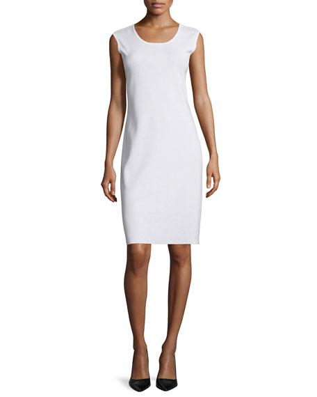 Misook Sleeveless Sheath Tank Dress, White, Petite