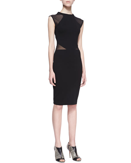 French Connection Viven Mesh-Paneled Jersey Dress