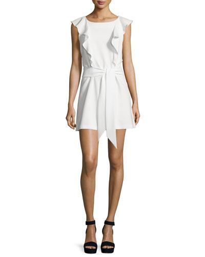 Millette Ruffle-Trim Mini Dress, Ivory