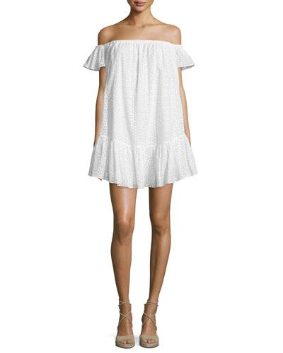 Pippa Off-The-Shoulder Eyelet Dress, White