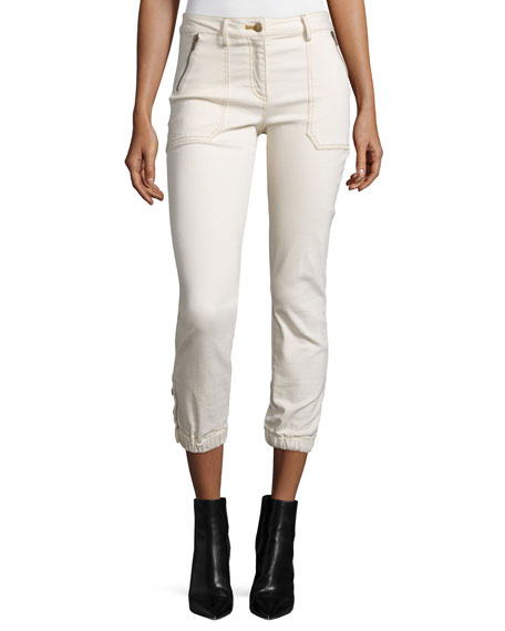 Veronica Beard Cardiff Cropped Denim Cargo Pants, Ecru