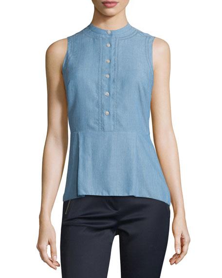 Veronica Beard Sleeveless Chambray Button-Front Top, Blue