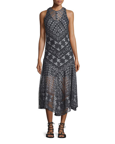 Laguna Geo-Lace Midi Dress, Black/White