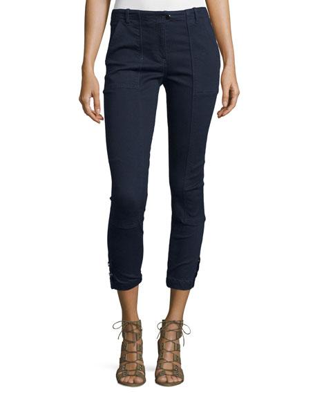 Veronica BeardField Cropped Chambray Cargo Pants, Indigo
